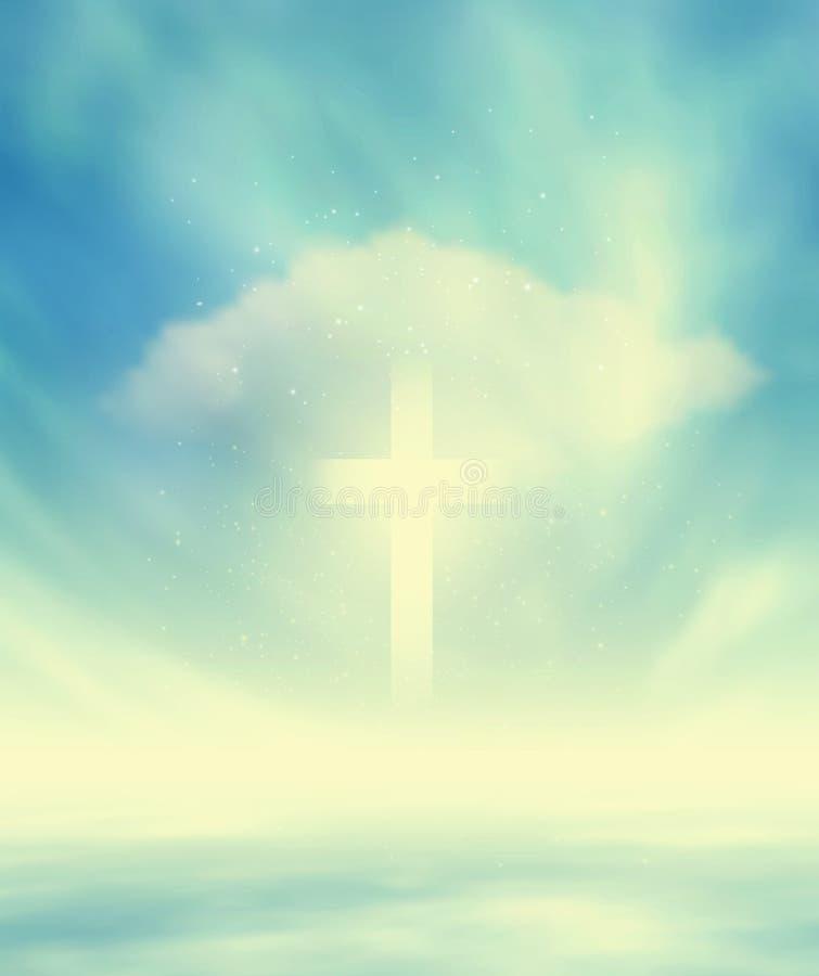 Christian Glowing Cross ilustração stock