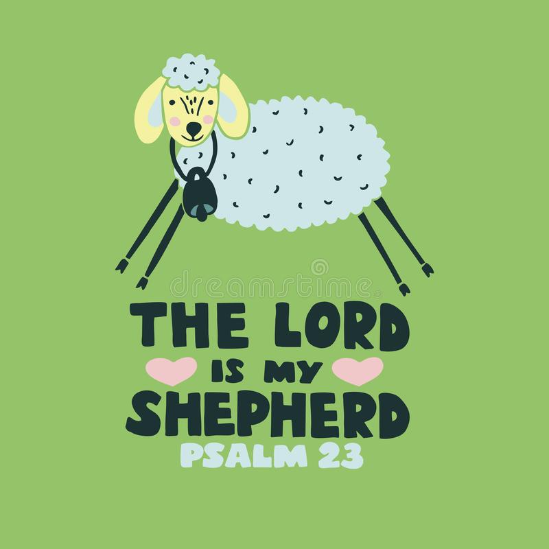 Christian graphic made hand lettering The Lord is my shepherd with funny sheep. Psalm 23. Hand lettering The Lord is my shepherd with sheep. Biblical background vector illustration