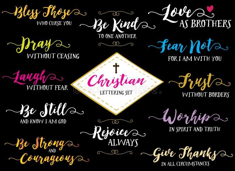 Christian Hand Lettering Vector Set illustrazione di stock