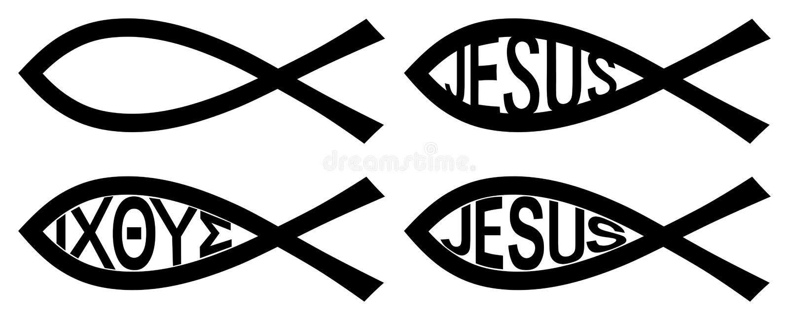 Christian Ichthys symbol. Two black arcs resembling fish. Version without text, with greek letters I CH TH Y S (standing for. Christian Ichthys symbol. Two black royalty free illustration
