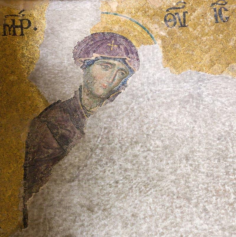 Christian Icon di vergine Maria in Hagia Sophia a Costantinopoli, Turke immagini stock libere da diritti