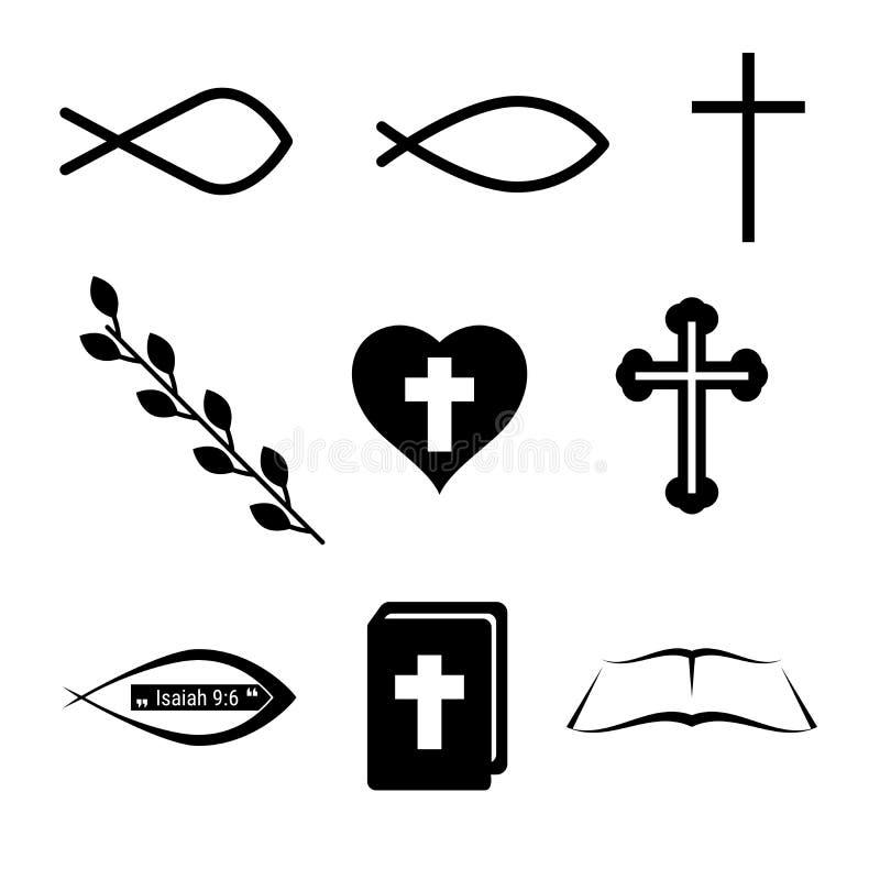 Christian Icons o símbolos Pescados, cruz, corazón, vino y Sagrada Biblia Sistema de elementos del diseño del vector para usted d ilustración del vector
