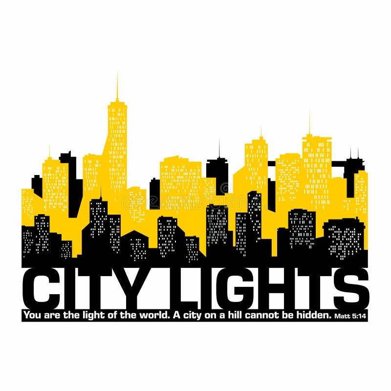 Christian illustration. City lights. Print. Christian illustration. City lights. Print stock illustration