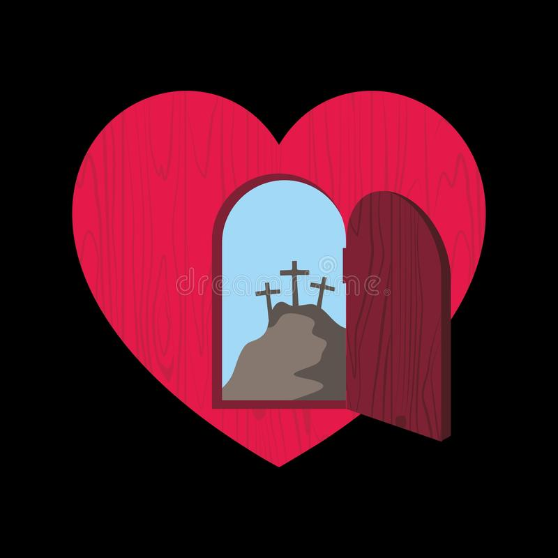Christian illustration. The door of the heart is opened and through it is visible Golgotha and three crosses.  stock illustration