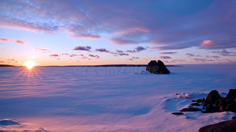 Christian Island Sunset - Georgian Bay in Winter stock images