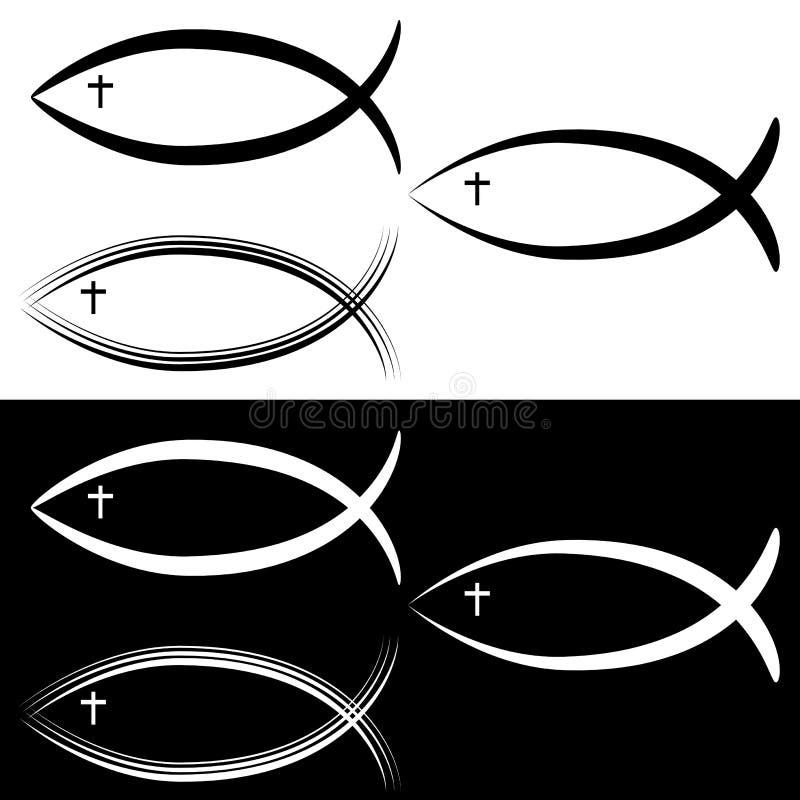 Christian Jesus Fish Symbol Set Black-Wit vector illustratie