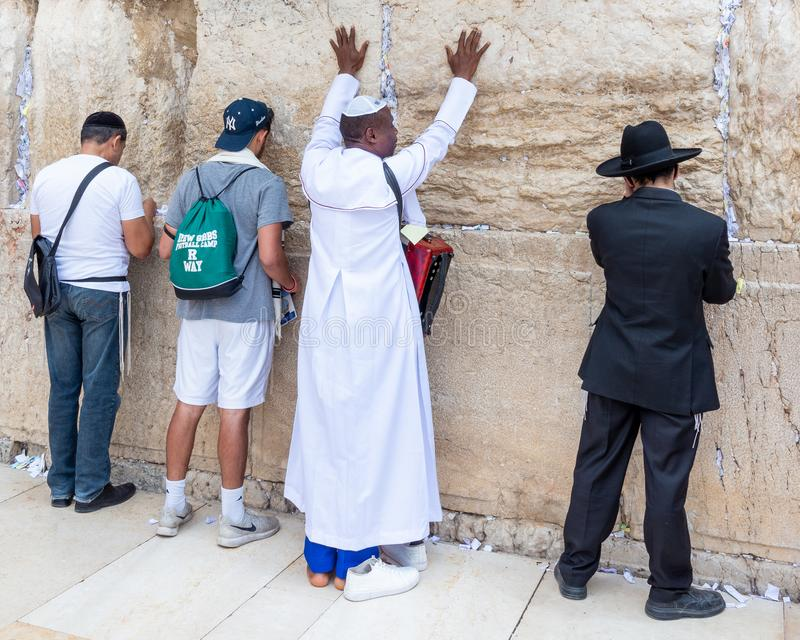 Christian and Jewish worshipers at the Western Wall royalty free stock photography