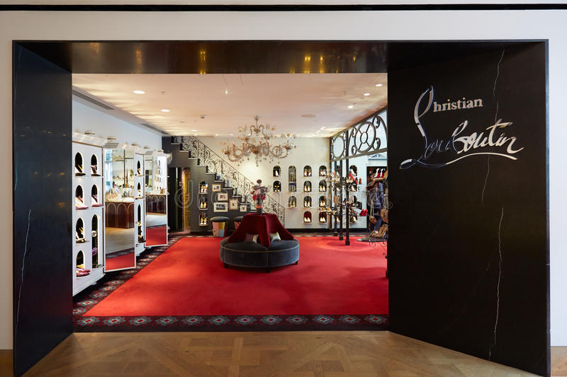 Christian Louboutin shop in Selfridges department store in London royalty free stock photography