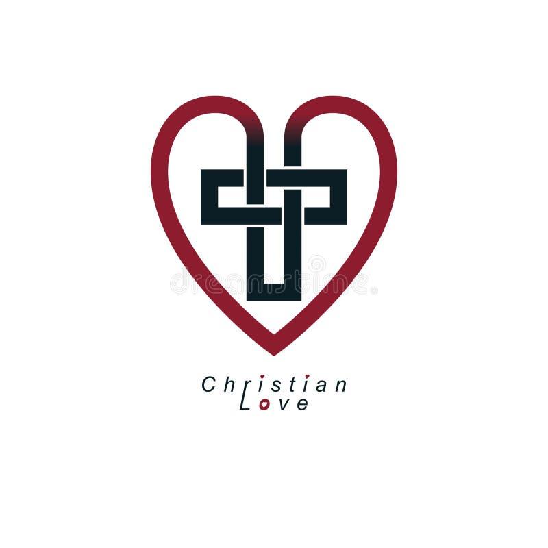Christian Love e la credenza vera in Dio vector il DES creativo di simbolo illustrazione vettoriale