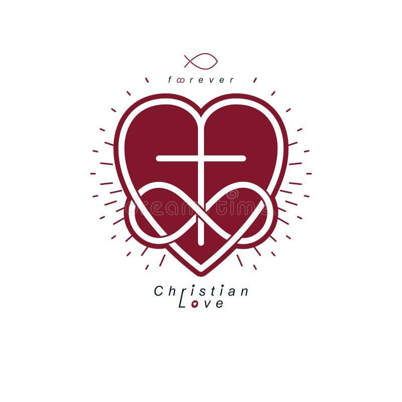 Christian Love eterno e credenza vera nella progettazione creativa di simbolo di vettore di Dio, combinata con il loop infinito d royalty illustrazione gratis