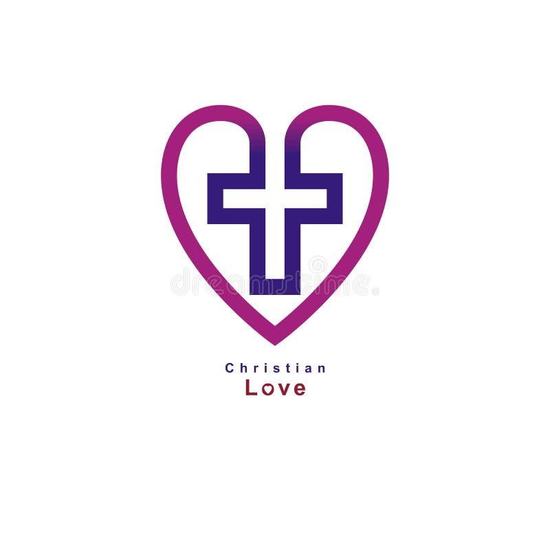 Christian Love verdadeiro e a opinião no deus, vector o símbolo criativo de ilustração stock