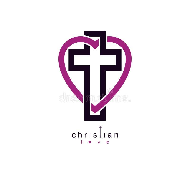 Christian Love verdadero y la creencia en dios, vector el símbolo creativo de stock de ilustración