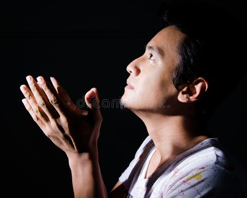 Christian man praying. stock images