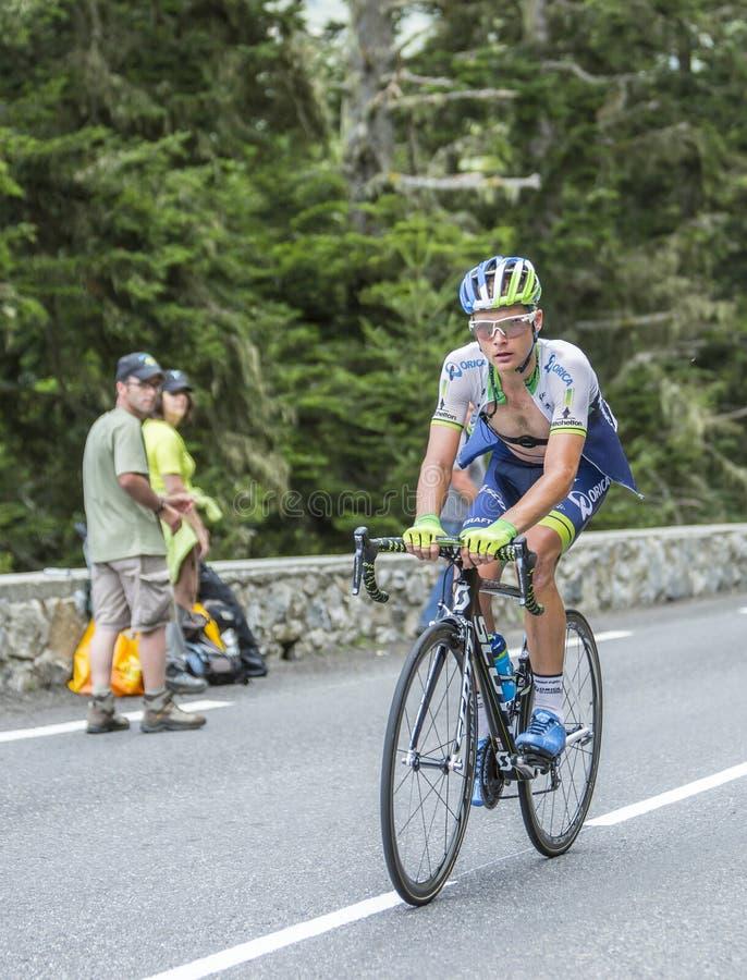 Christian Meier on Col du Tourmalet - Tour de France 2014. Col du Tourmalet, France - July 24,2014: The Canadian cyclist Christian Meier of Orica-GreenEDGE Team stock photography