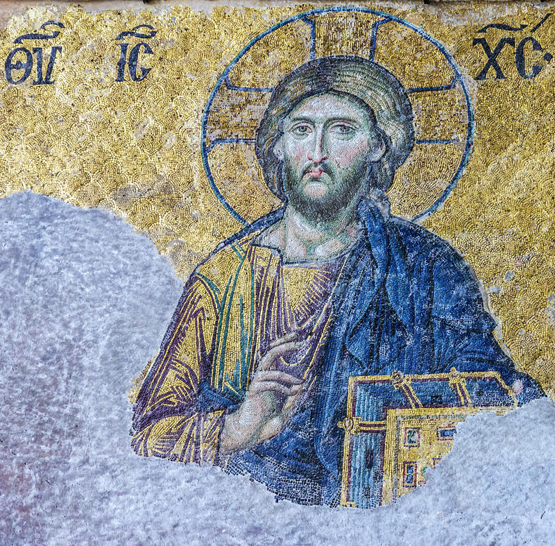 Christian mosaic icon of Jesus Christ in Cathedral mosque Hagia royalty free stock photography