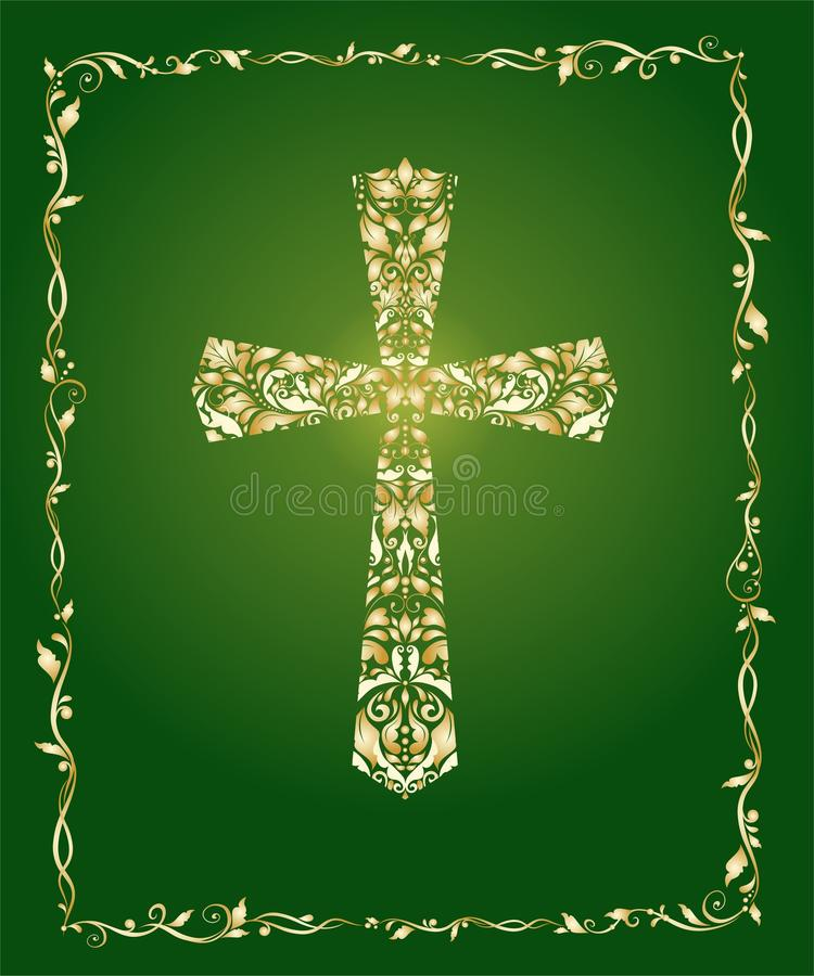 Christian ornate cross with floral gold pattern and vintage frame on green background royalty free illustration