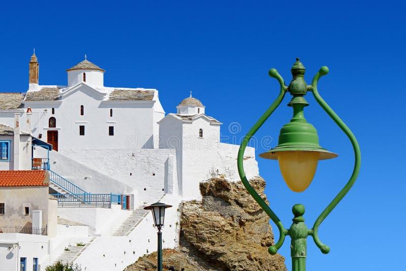 Christian Orthodox Church en la isla de Skopelos imágenes de archivo libres de regalías
