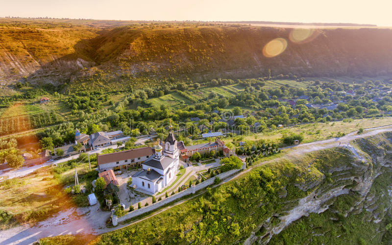 Christian Orthodox church in Old Orhei, Moldova. Aerial view royalty free stock photography