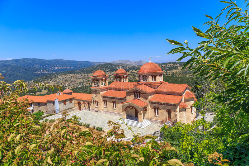 Christian orthodox monastery in Malevi, Peloponnese, Greece. New cathedral of christian orthodox monastery of the assumption of the Virgin Mary in Malevi royalty free stock photography