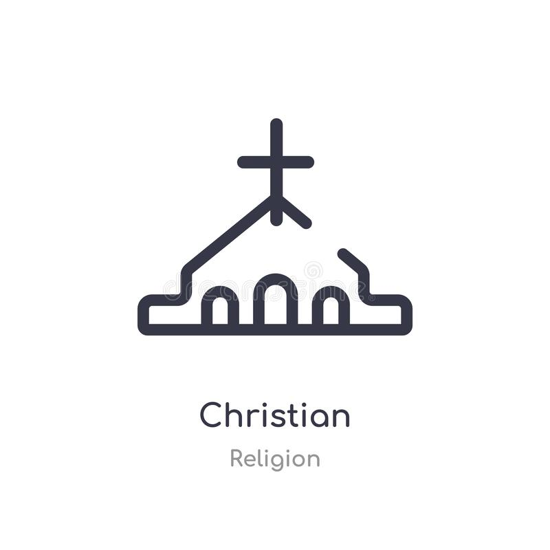 christian outline icon. isolated line vector illustration from religion collection. editable thin stroke christian icon on white royalty free illustration