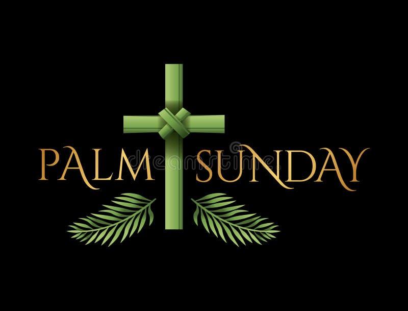 Christian Palm Sunday Cross Theme illustration stock illustrationer