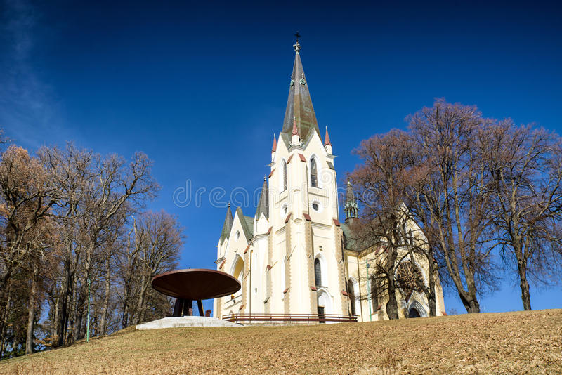 Christian pilgrimage site - Marianska hora, Slovakia. Basilica of the Visitation of the Blessed Virgin Mary on hill Marianska hora. Levoca, Slovakia. Christian stock image