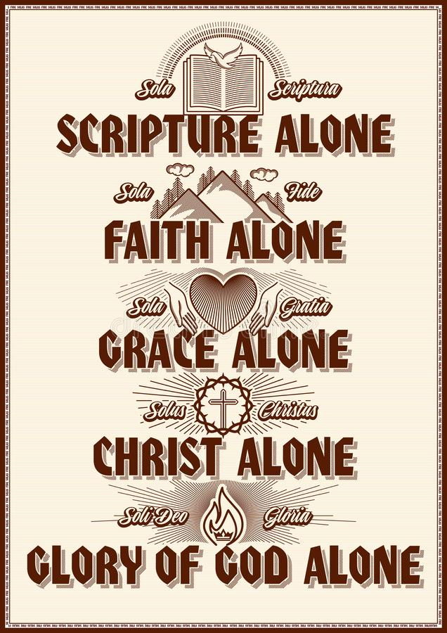 Free Christian Poster. Five Points Of The Foundation Of Protestant Theology `Five Solas`. Royalty Free Stock Image - 133039796