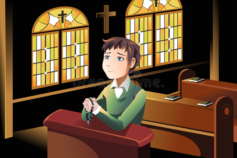 Christian praying. A vector illustration of a Christian man praying in the church stock illustration