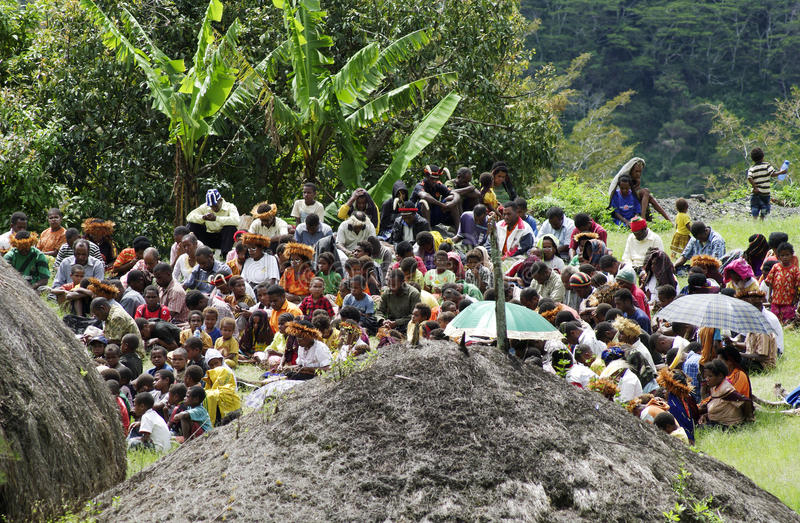 Christian preaching in the Papuan village stock photo