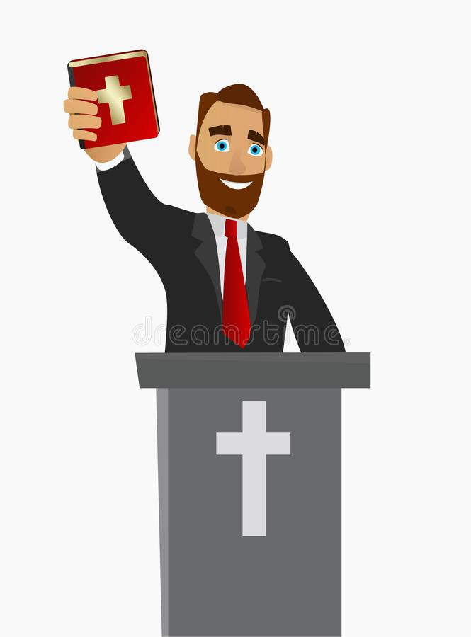 A Christian priest gave a sermon in a church in worship. Vector illustration. stock illustration