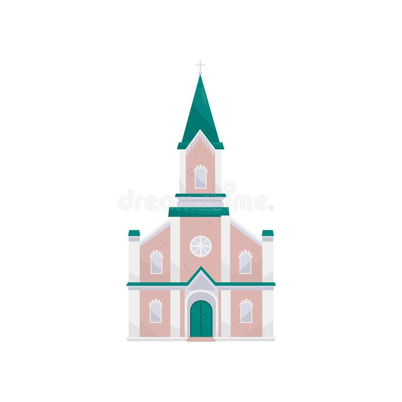 Christian protestant church building vector Illustration on a white background stock illustration