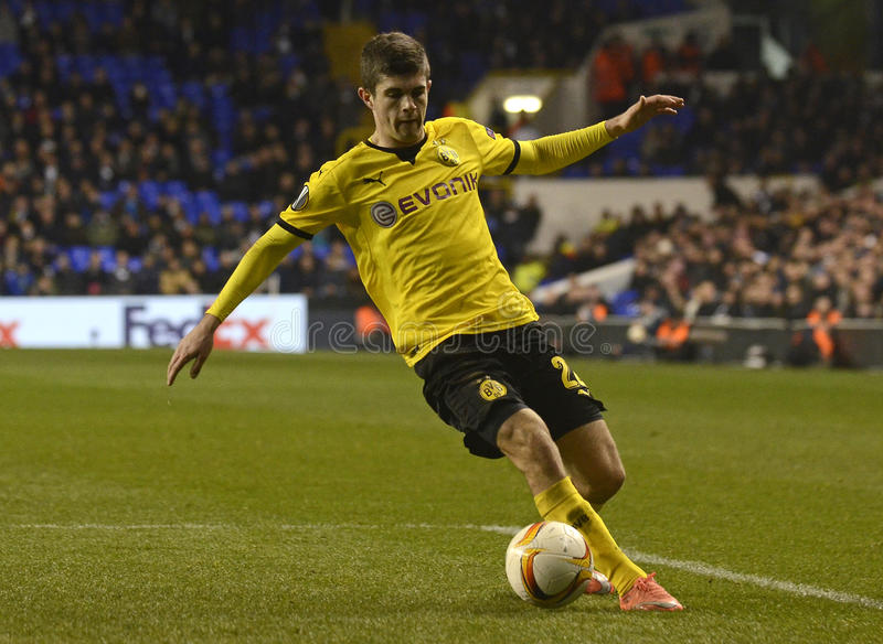 Christian Pulisic. Football players pictured during UEFA Europa League round of 16 game between Tottenham Hotspur and Borussia Dortmund on March 17, 2016 at royalty free stock photos