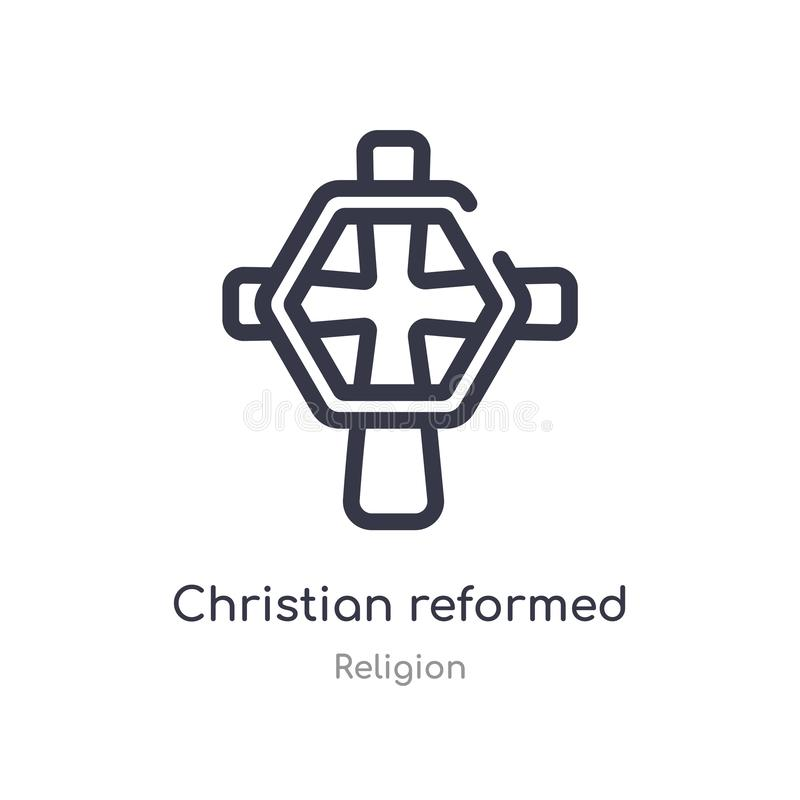 christian reformed church outline icon. isolated line vector illustration from religion collection. editable thin stroke christian vector illustration