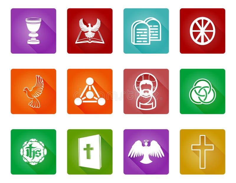 Christian Religion Icons stock de ilustración