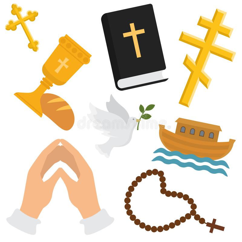Christian religion vector pattern. Religious symbols of christianity. Illustration backdrop set of christian cross vector illustration