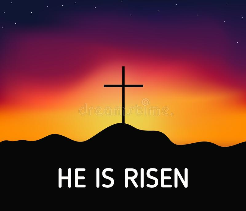 Christian religious design for Easter celebration, Saviour cross on dramatic sunrise scene, with text He is risen royalty free illustration