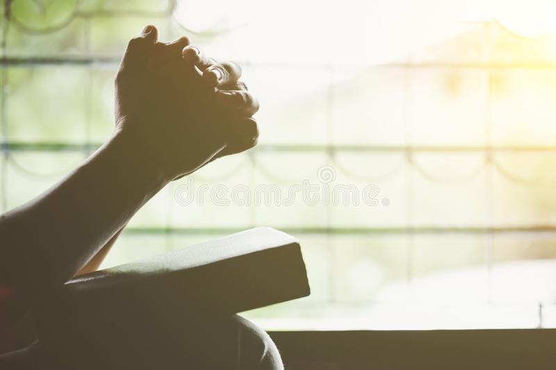 christian senior woman praying to God at home royalty free stock photography