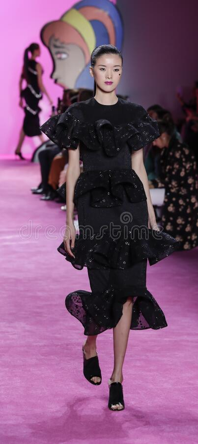 Christian Siriano FW 2020. New York, NY, USA - February 6, 2020: A model walks runway for the Christian Siriano Fall/Winter 2020 collection during New York stock photography