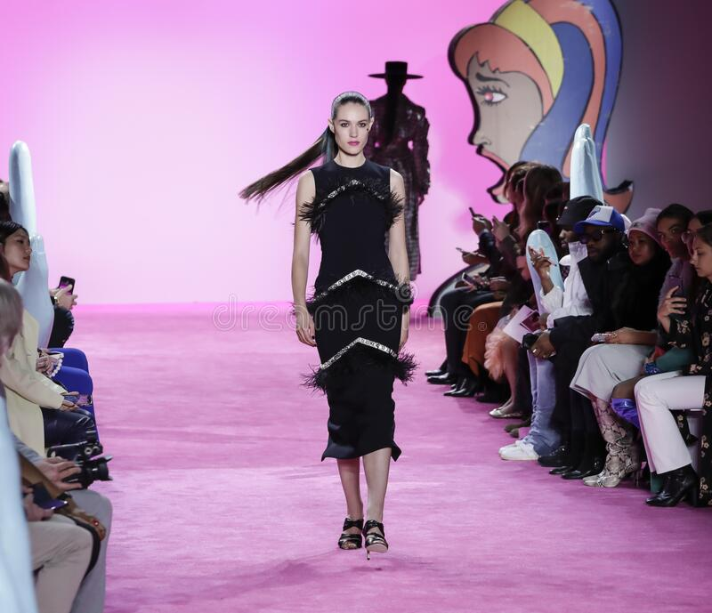 Christian Siriano FW 2020. New York, NY, USA - February 6, 2020: A model walks runway for the Christian Siriano Fall/Winter 2020 collection during New York stock image