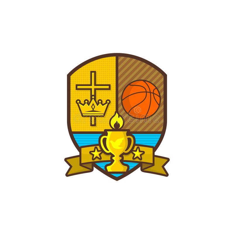 Christian sports logo. Shield and goblet, cross of Jesus, crown of king. Basketball. Emblem for competition, club, camp stock illustration
