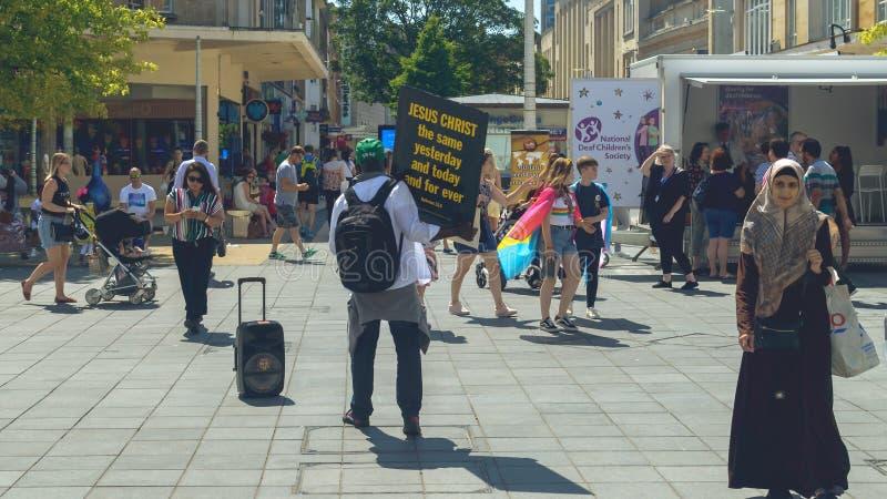 Christian Street Preacher em Bristol City Centre fotografia de stock