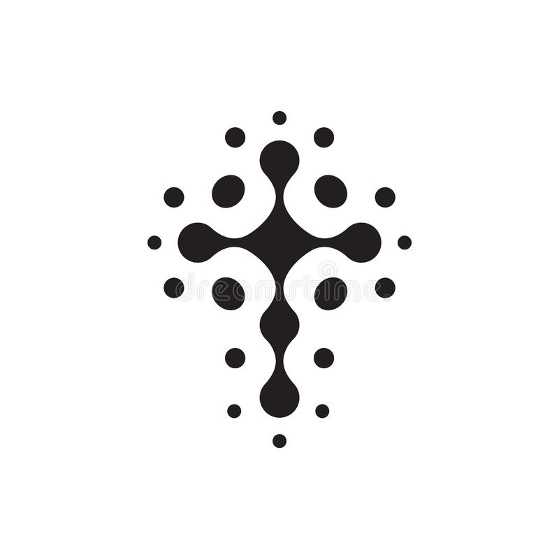Christian symbol, black connection dots icon. Church logo template. Isolated vector illustration. vector illustration