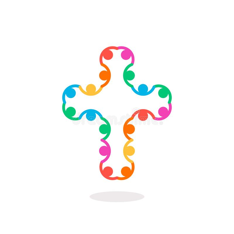 Christian symbol, colorful connection people cross icon. Church logo template. Isolated vector illustration. royalty free illustration