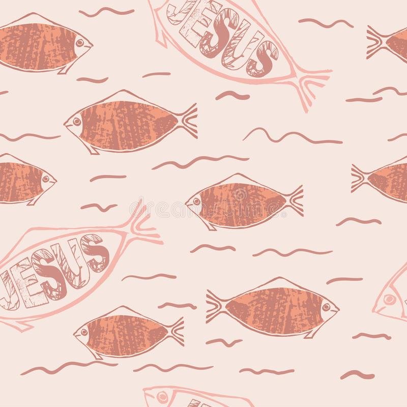Christian symbol fish. Christian fish symbol on textured background, seamless pattern for Easter card, banner, element for your design vector illustration