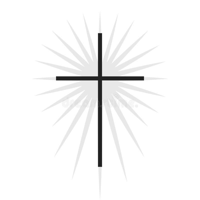 Christian symbol, svart tunt kors med belysningsikon Logotyp för kyrka Isolerad vektorillustration stock illustrationer