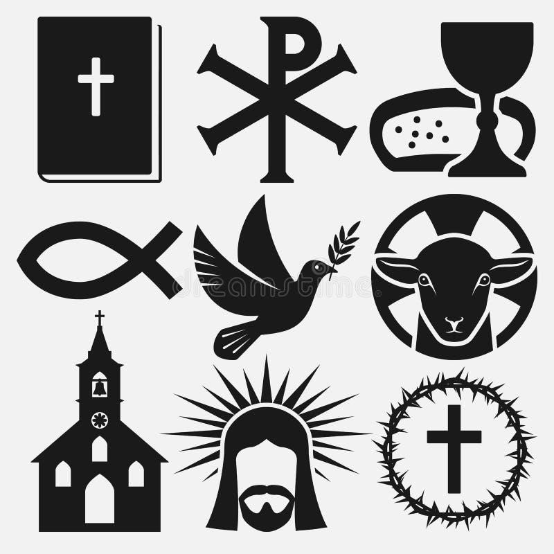 Christian symbols icons set royalty free illustration