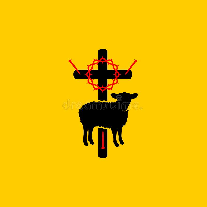 Free Christian Symbols. Symbols Of Jesus Christ Are A Cross, A Crown Of Thorns, A Sacrificial Lamb And A Shepherd`s Staff. Royalty Free Stock Photos - 163977548