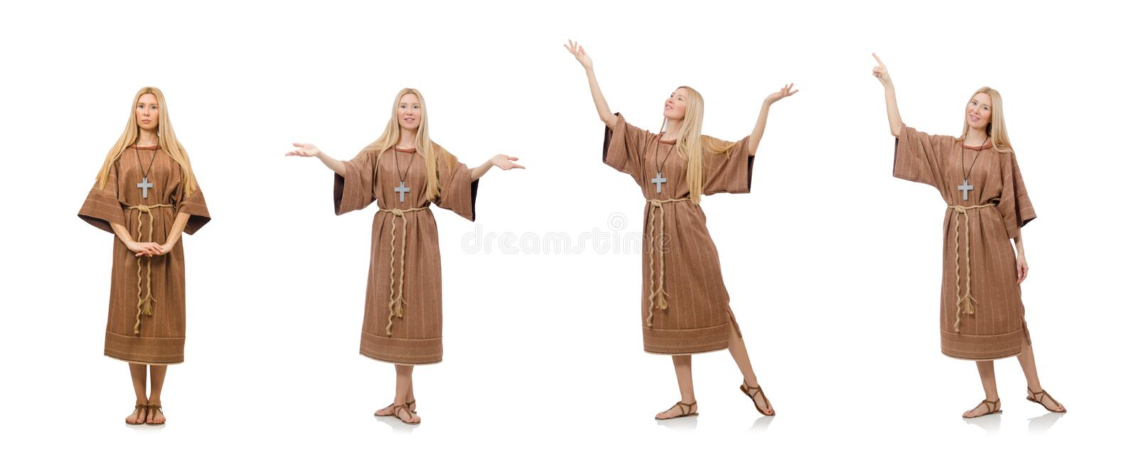 Christian woman isolated on the white stock photography