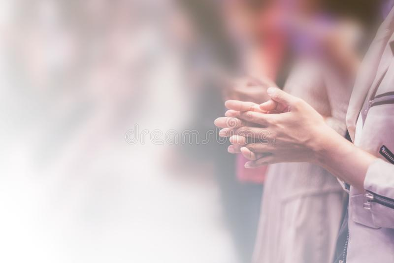 Christian worship with raised hand. Music concert royalty free stock images