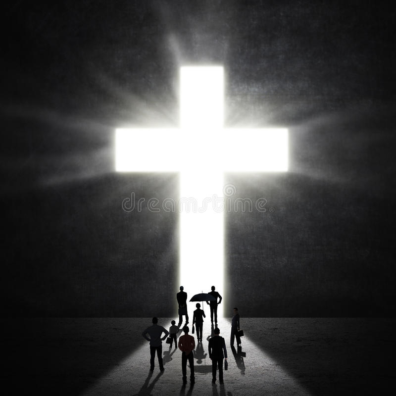 Christian Worshippers At The Cross immagine stock libera da diritti